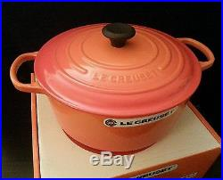 Le Creuset 7.25 Quart Round Dutch Oven Casserole Flame French New In Box 7 1/4