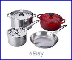 Le Creuset 7-Piece Stainless and Enameled Cast Iron Oven Set(Cherry Red)
