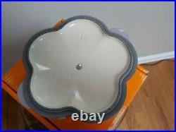 Le Creuset BLUE BELL PURPLE Flower Cocotte Cast Iron 1 1/8 Quart
