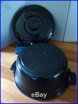 Le Creuset COUSANCES Vintage 6Qts Round Oven#29 STUNNING JET BLACK Very RARE