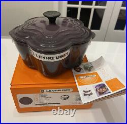 Le Creuset Cassis Purple Flower Cast Iron Cocotte 2.25 Qt Ultra Rare Color! Nib