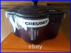 Le Creuset Cassis Purple Flower Fleur Cocotte 2.25 Qt Cast Iron