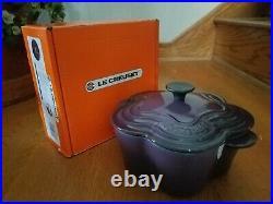 Le Creuset Cassis Purple Flower Pot Dutch Oven 2.25 quart New in box