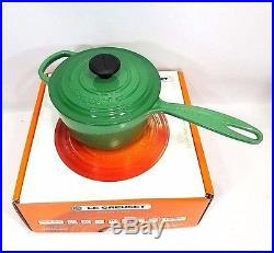 Le Creuset Cast Iron 1.25 Quart Sauce Pan Fennel Green 1 1/4 Retired Color NIB