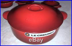 Le Creuset Cast Iron 4-Qt Legumiers 4-Stoneware Mini Legumiers Cherry Red NEW