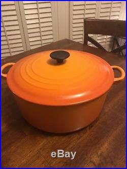 Le Creuset Cast Iron Enamel Round 7.25 Quart Dutch Oven #28 Flame Orange