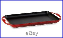Le Creuset Cast Iron Griddle Enameled Rectangular Skinny Red Stove Oven Broiler