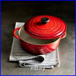 Le Creuset Cast-Iron Round Dutch Oven-Cerise (Red)-5 1/4-Qt-Retails $450