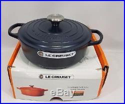 Le Creuset Cast Iron Round Dutch Oven Matte Navy 3.5 Quart 3 1/2 with Lid NEW NIB