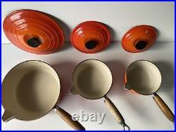 Le Creuset Cast Iron Saucepan Set Volcanic Orange 22 16 14 VGC