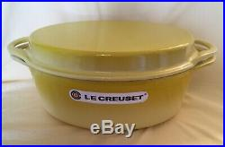 Le Creuset Cast Iron Signature Oval Dutch Oven with Grill Pan Lid YellowithSoliel