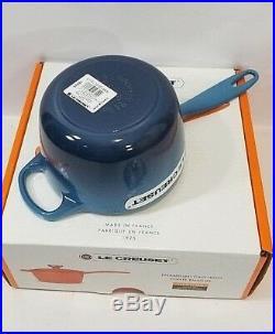Le Creuset Cast Iron Signature Saucepan 1.75 Quart with Lid Ombre Blue NIB RARE