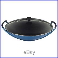 Le Creuset Cast Iron Wok with Metal Lid -Marseille Blue Enamelware. Barely Used