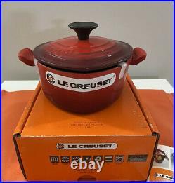 Le Creuset Cerise Red Heart Cocotte Cast Iron 1 1/8qt