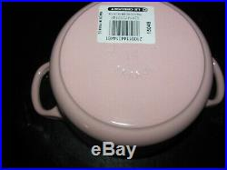 Le Creuset Chiffon Pink 1.0 Qt Small Cast Iron Dutch Oven #14 5-1/2