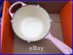 Le Creuset Chiffon Pink Signature Cast Iron Saucepan Pot 1.75Qt New