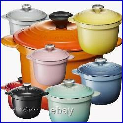 Le Creuset Cocotte Every 18 2L Enamel Pot cook Cast iron steel 8Color simmer Lid