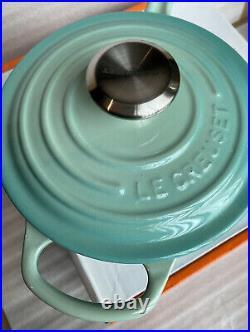 Le Creuset Cool Mint Saucepan Handle With Lid Cast Iron 1.75qt New