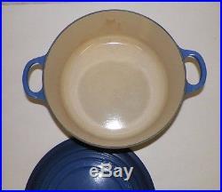 Le Creuset Enamel Cast Iron #26 Blue Dutch Oven 5 1/2 Qt 10 1/2 Handles LID
