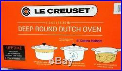Le Creuset Enamel Cast Iron 6.5 Qt. Round Deep Dutch Oven RED Genuine Brand New