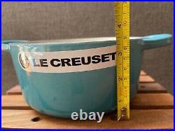 Le Creuset Enamel Cast Iron Round Dutch Oven Pot, 18 cm/2 QT, CARIBBEAN TEAL Blue