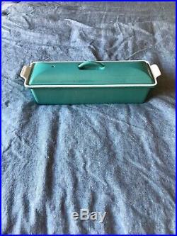 Le Creuset Enameled Cast-Iron 2 Quart Pate Terrine Rare Turquoise Vintage