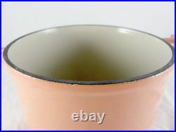 Le Creuset Enzo Mari Peach Fondue Pot & Holder, cast iron, enamel vtg