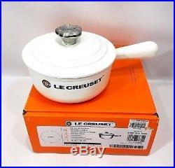 Le Creuset France 1 1/8 Quart Iron Handle Sauce Pan Flower Knob Matte White NIB