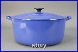 Le Creuset France #30 Blue Enamel Cast Iron Round Dutch Oven With Lid 9 Qt