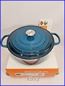 Le Creuset France 7.25 Cast Iron Round Dutch Oven 7 1/4 Quart Deep Teal NIB