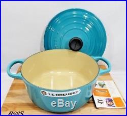 Le Creuset France Round 3.5 Quart Dutch Oven Cast Iron Caribbean Blue #24 NIB
