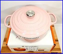 Le Creuset France Round 3.5 Quart Dutch Oven Cast Iron Chiffon Hibiscus Pink NIB