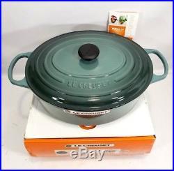 Le Creuset France Signature Oval Dutch Oven Cast Iron Ocean Blue 9.5 Quart NIB