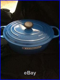 Le Creuset Lot Of 2 Marseille Blue Enameled # 31 6.75 Qt Oval Dutch Oven #26
