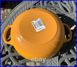 Le Creuset Nectar Yellow Cast Iron Soup Pot 2.5 Qt 22 New