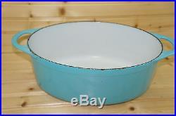 Le Creuset OVAL Aqua/Turquoise/Blue DOUFEU Dutch Oven #12, 14¼ x 8 5/8 Vintage