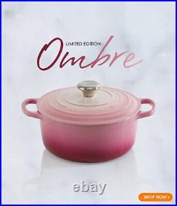 Le Creuset Ombre Pink Signature Round Dutch Iron Cast Oven Casserole 2 Qt