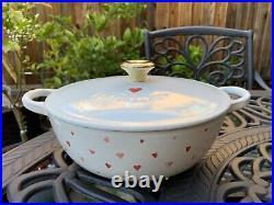 Le Creuset Pink Heart White Cast Iron Soup Pot 2.75 Qt 22 New Sold Out