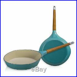 Le Creuset-Raymond Loewy-Iron Skillet-Turquoise-Limited Edition-Retails $599
