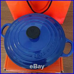 Le Creuset Round Shaped Cast Iron French Oven Casserole Pot Blue Cookware 20cm