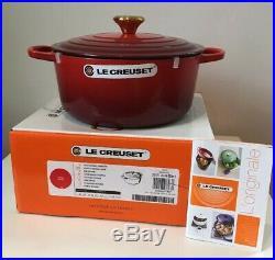 Le Creuset Signature 5.5 Qt Round Dutch Oven-Gold Knob-Cherry-Retails $450