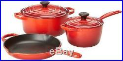 Le Creuset Signature 5-Piece Cast Iron Cookware Set, Cherry Kitchen
