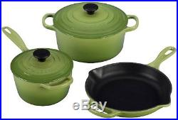 Le Creuset Signature 5-Piece Cast Iron Cookware Set, Palm. FREE SHIPPING, NEW