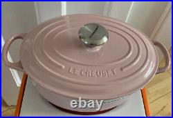 Le Creuset Signature Cast Iron 27cm Oval Casserole Chiffon Pink(No Box) New