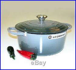 Le Creuset Signature Cast-Iron 5 ½ QT Round Dutch Oven Oyster Grey 26cm -NIB