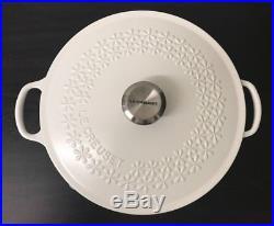 Le Creuset Signature Cast-Iron Fleur Round Dutch Oven, 4-Qt, Matte White