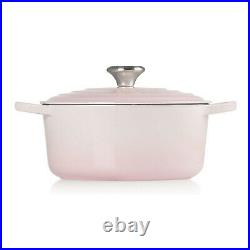 Le Creuset Signature Cast Iron Round Casserole 4.5 Qt Shell Pink