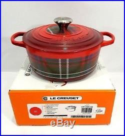 Le Creuset Signature Cast Iron Round Dutch Oven 4.5 Quart Cherry Red Tartan NIB