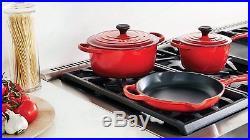 Le Creuset Signature Cherry Red Enameled Cast Iron 16 Piece Cookware Set