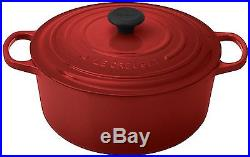 Le Creuset Signature Enameled Cast-Iron 7-1/4-Quart Round French Dutch Oven Red